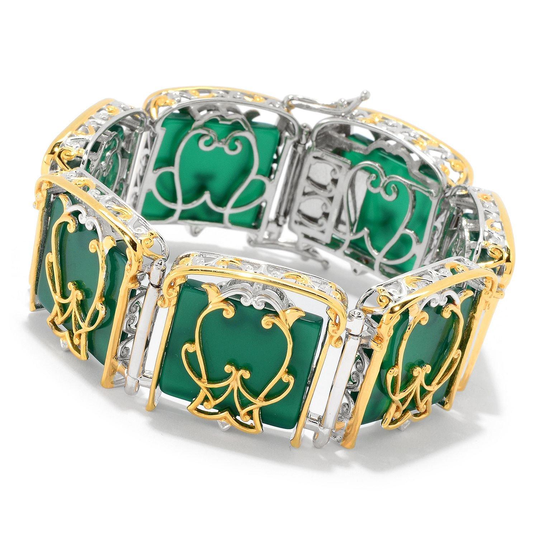 Michael Valitutti Palladium Silver Paris Green Chalcedony Metropolitan Link Bracelet by Michael Valitutti