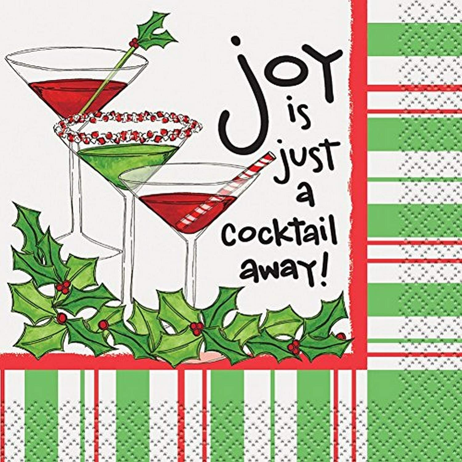 Joy Is A Cocktail Away Christmas Cocktail Napkins, 16ct