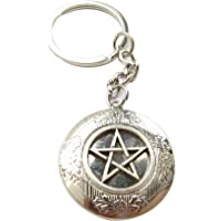 Ancient Silver Pentagram Locket Keychain,Pagan Symbol, Wicca, Wiccan Jewelry, Protection Amulet