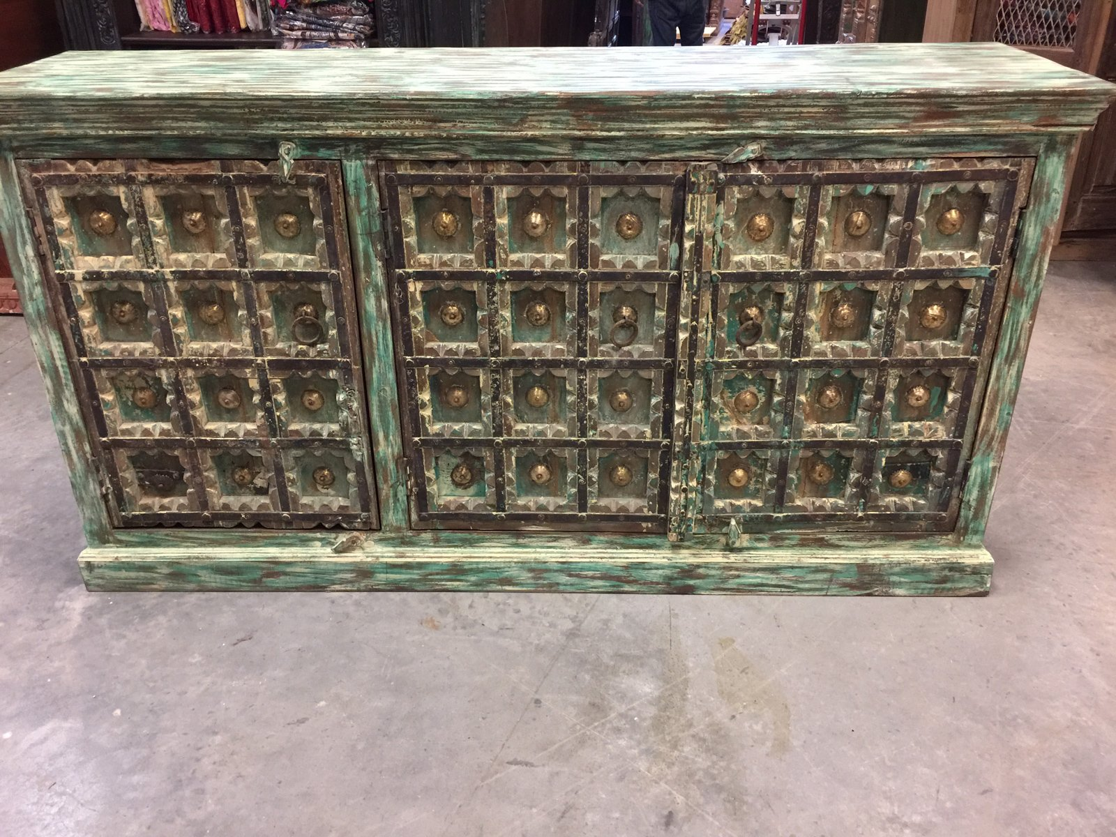Mogulinterior Turquoise Green Distressed Square Carved Brass Medallion Sideboards Chest Storage Buffet Console