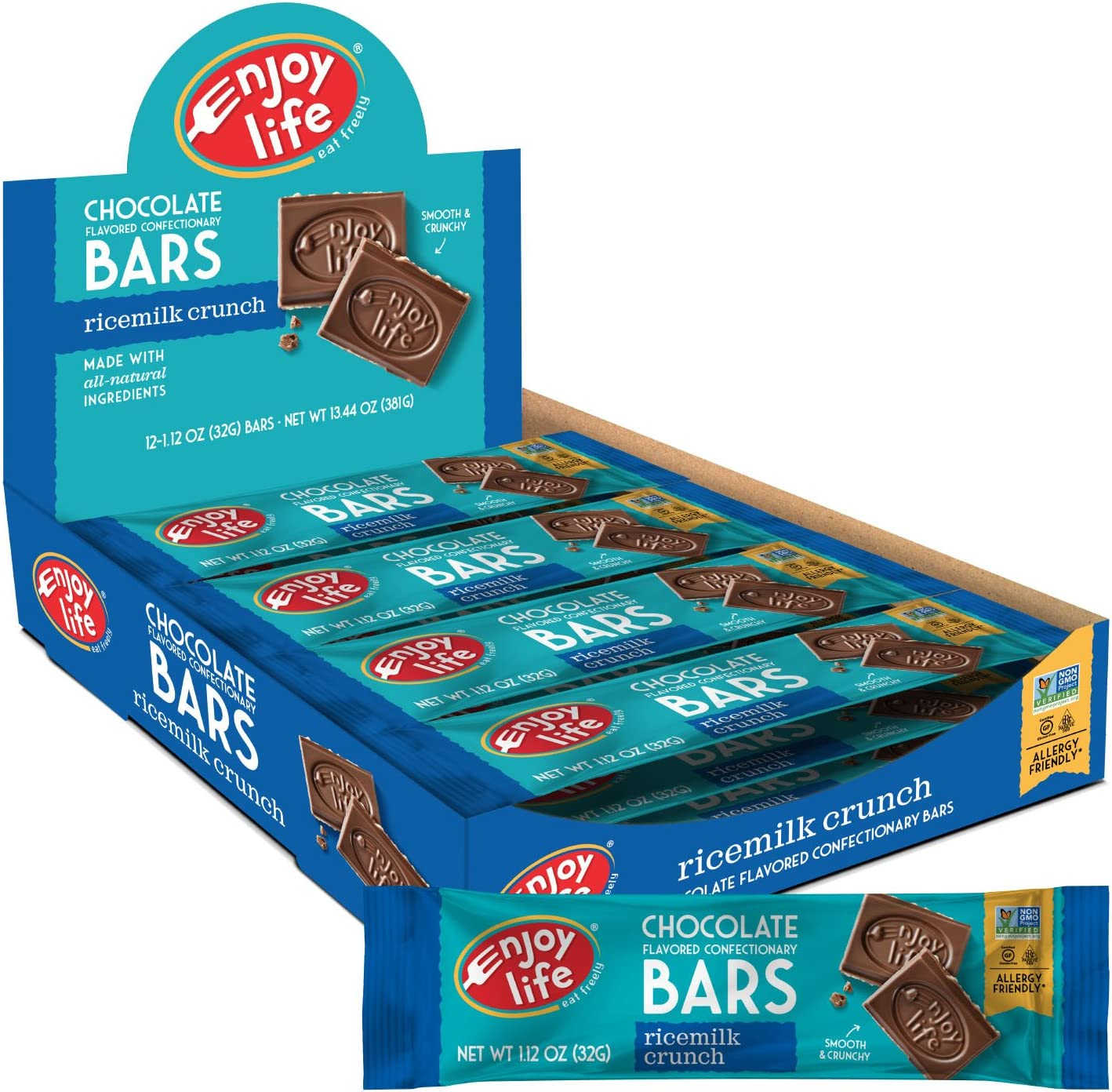 Enjoy Life Dairy Free Chocolate Bars, Soy Free, Nut Free, Gluten Free, Non GMO, Ricemilk Crunch, 2 Boxes of 12 Bars (24 Total Bars)
