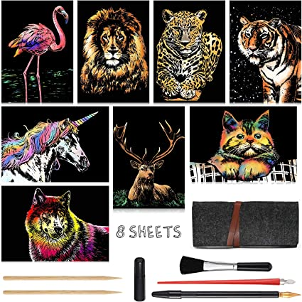 Scratch Paper Art Set 8 Sheets Rainbow Painting Scratch Off Art Cherry Blossom /& Animal Mini Postcard Art Craft Supplies for Adults Girls /& Boys Thanksgiving /& Christmas Birthday Party Game Gift Set
