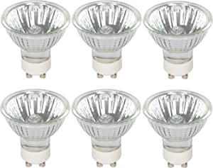 Simba Lighting Halogen GU10 35W Spotlight 120V MR16 with Glass Cover (6 Pack) Dimmable Flood for Accent, Recessed, Track Lighting, 30° Beam Angle, Twist-N-Lock Twistline Base, Warm White 2700K