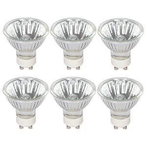 Halogen GU10 50W Spotlight 120V MR16 with Glass Cover by Simba Lighting (6 Pack) Dimmable Flood for Accent, Recessed, Track Lighting, 30° Beam Angle, Twist-N-Turn Twistline Base, Warm White 2700K