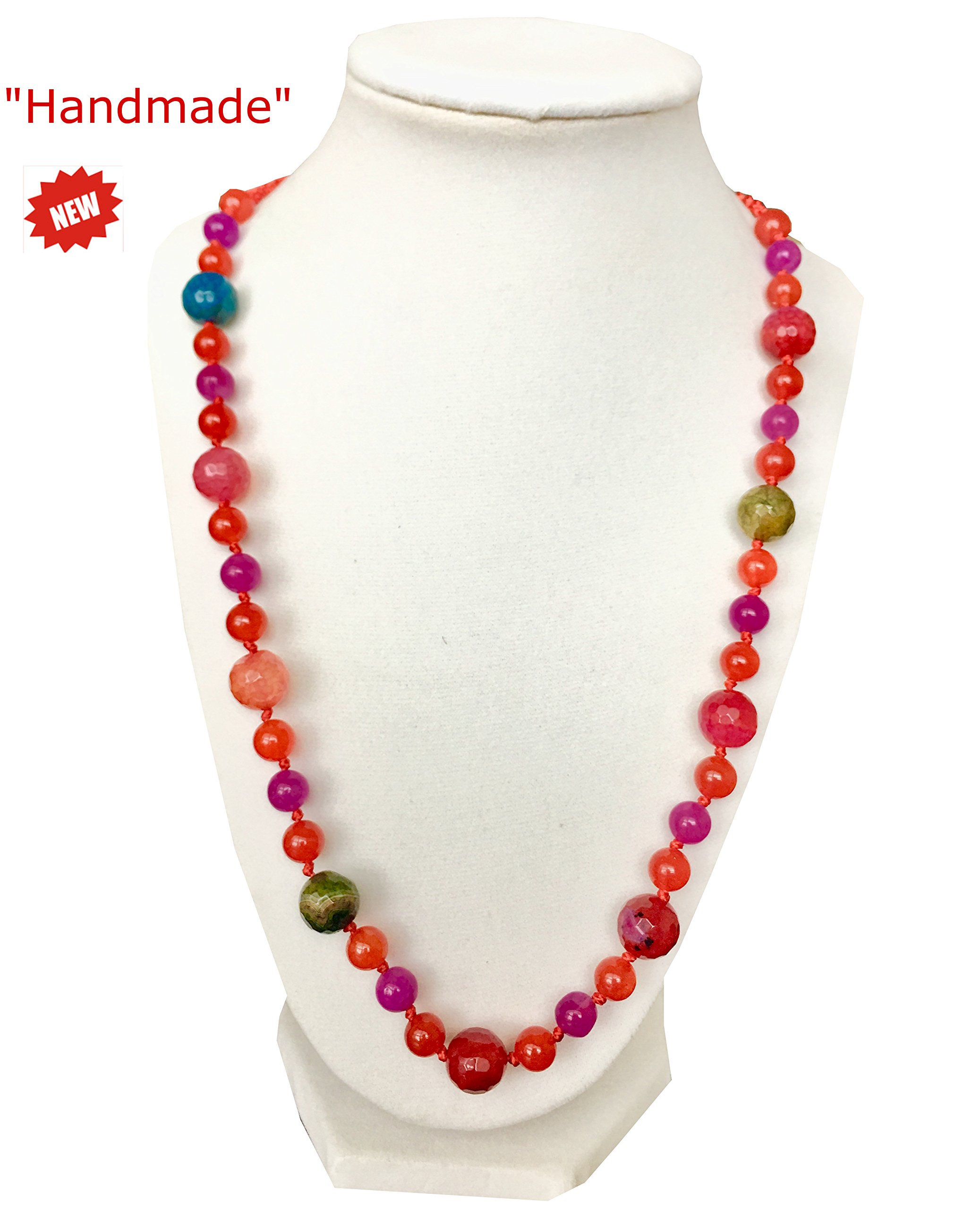 Himalayan Handmade Elegant Necklace Multi Color (Pink) Multi Size Beads & Gemstone Comes With Gift Box