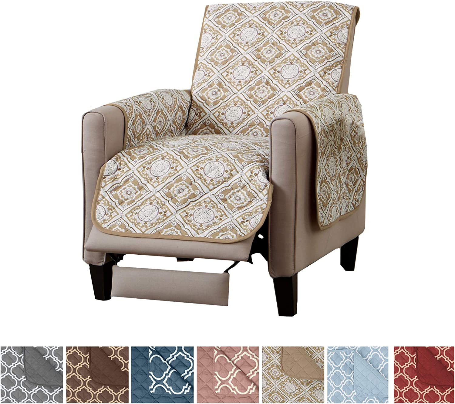 Recliner Cover for Dogs Protect from Kids and Pets. 26 Recliner, Indian Teal Recliner Furniture Protector with Secure Straps Reversible Recliner Cover for Living Room Oversized
