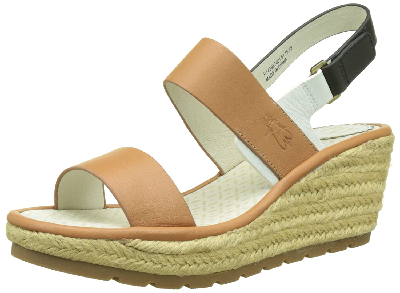 Ekan967Fly, Heels Sandals para Mujer, Blanco (Offwhite/Tan/Black 002), 40 EU FLY London
