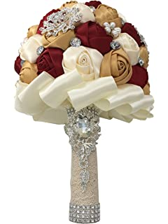 Amazon wedding bouquets bridal silk flowers burgundy wine gold jackcsale wedding bride bridal bouquet brooch bouquet bridesmaid valentines day bouquet confession d453 wine red mightylinksfo
