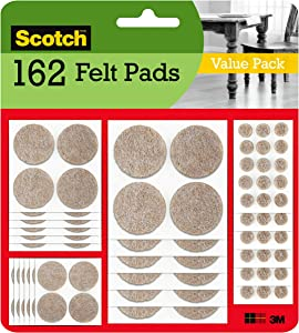 Scotch Mounting, Fastening & Surface Protection SP845 Scotch Brand 3M, for Protecting Linoleum Floors, Round, Beige, Assorted Sizes, 162 Pack Felt Pads, Count