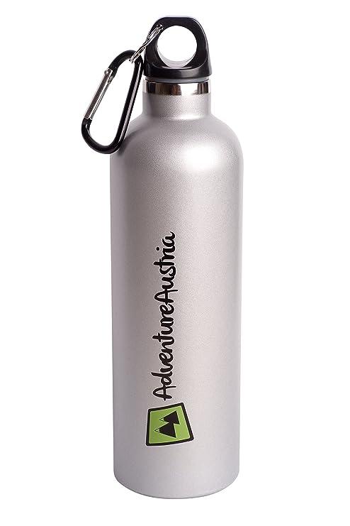 AdventureAustria Botella Acero Inoxidable de 600ml Botella de Agua Deportiva Térmica - con Doble Aislamiento y Mosquetón de Aluminio. Bebidas Frías o ...