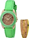 Sprout Women's ST/1064GNYLST Green Organic Cotton Strap Watch and Cork Bracelet Set
