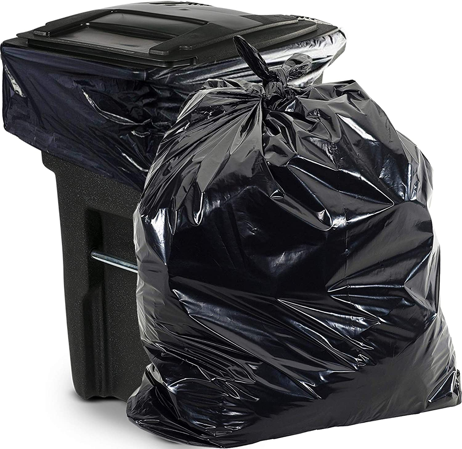 """65 Gallon Trash Bags Heavy Duty - (Huge 50 Pack) - 1.5 MIL - 50"""" x 48"""" - Large Black Plastic Garbage Can Liners for Contractor, Lawn and Leaf, Outdoor, Storage, Commercial, Industrial, Toter, Bag"""