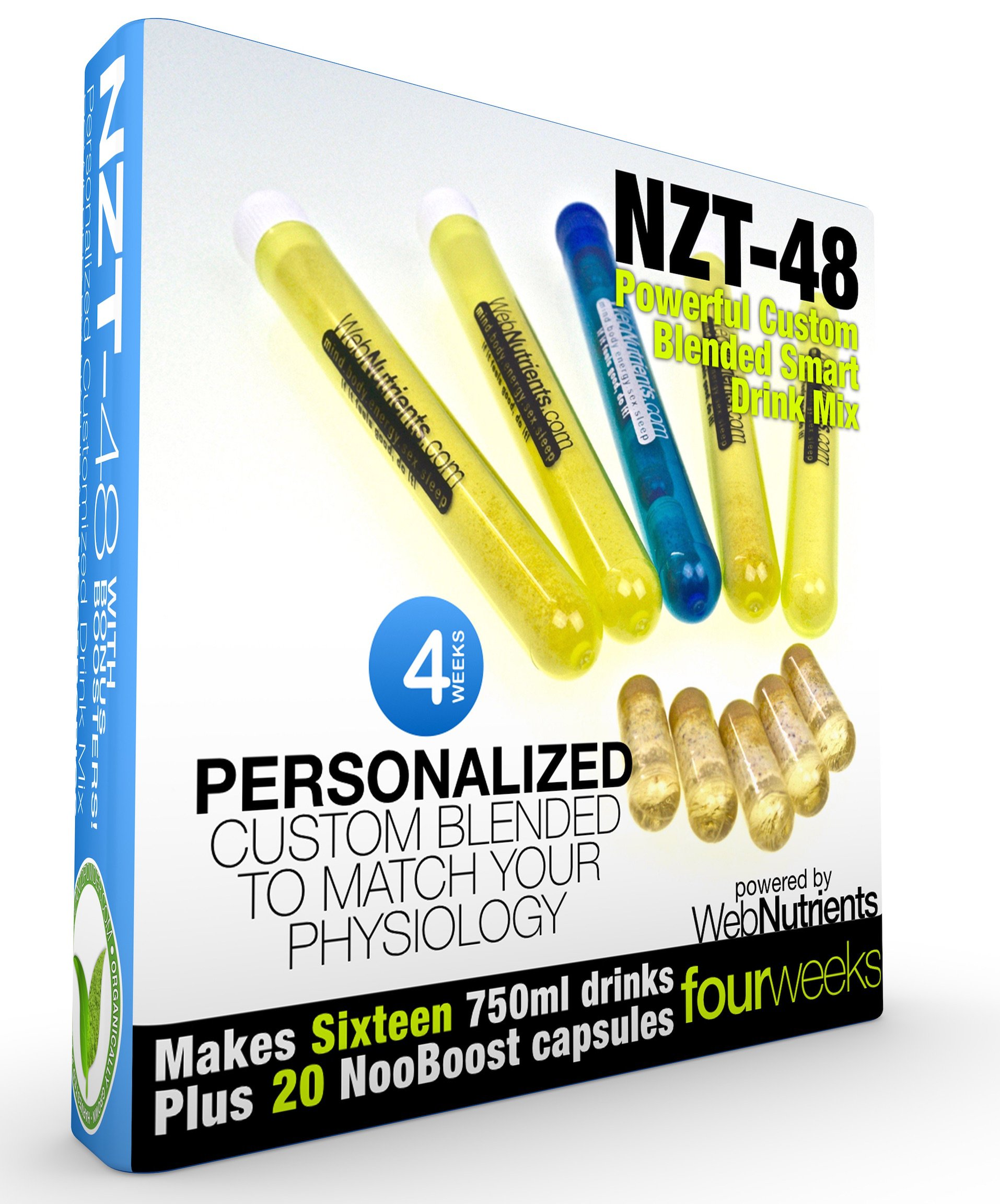 Limitless NZT-48 Customized and Personalized Nootropic Performance Drink Mix. Brain Booster with BHB, Celastrus Paniculatus Extract, CDP Choline, Uridine, Guarana. 28 Proven Ingredients (16+20)