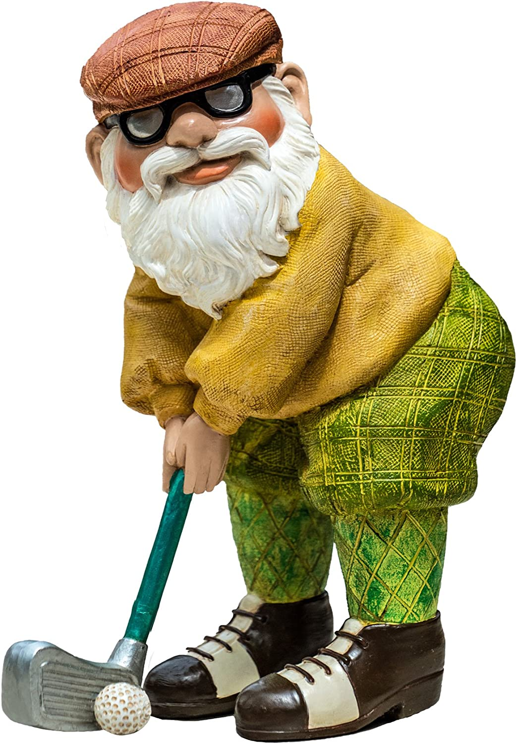 "Twig & Flower The Great Golfing Gnome 9"" (The Hand Painted Garden Gnome - Designed"