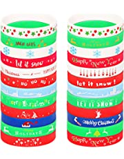 Jstyle Cute Christmas Silicone Bracelets for Xmas Festive Holiday Party Favors Wristbands Rubber Band Bracelets Christmas Decoration
