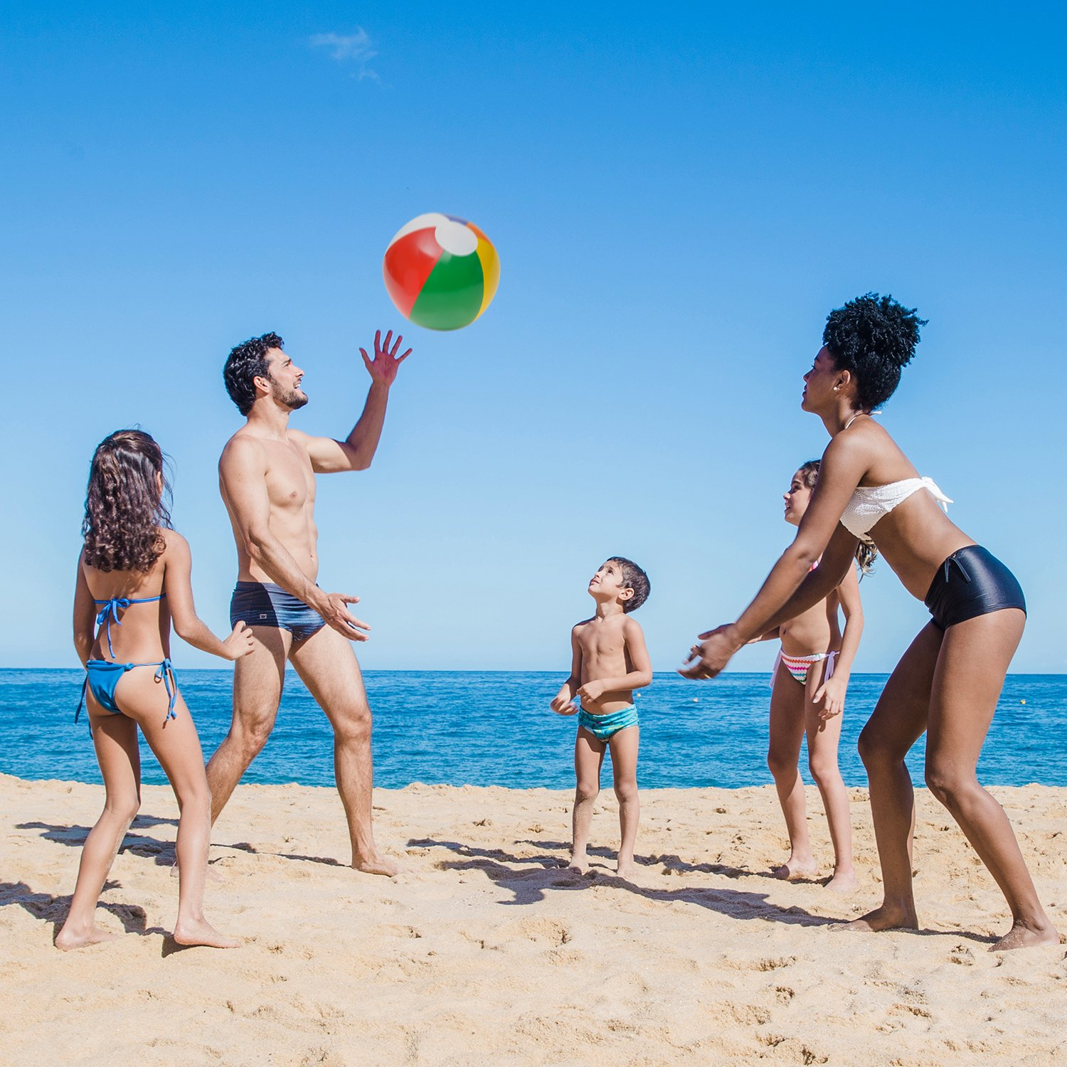 Summer Party Supply/'s Multicolored Balls Inflatable 16 Inch Rainbow Beach Ball Pack of 12 for Swimming Beach Pool Toys for Kids Boys and Girls