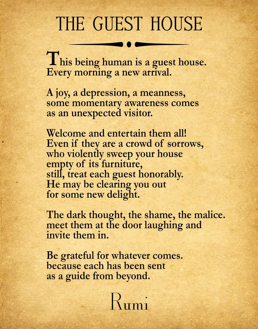 Amazon.com: Rumi Quote The Guest House Poem by Rumi Inspiring Poem Guest  House Decor Guest House Wall Art Poetry Sign Poetry Wall Art Poem Decor (13  x 19, Vintage): Posters & Prints
