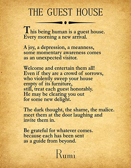 Amazon.com: Rumi Quote The Guest House Poem by Rumi Inspiring Poem ...