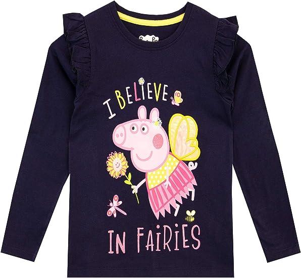 Camiseta de Manga Larga para ni/ña algod/ón Peppa Pig