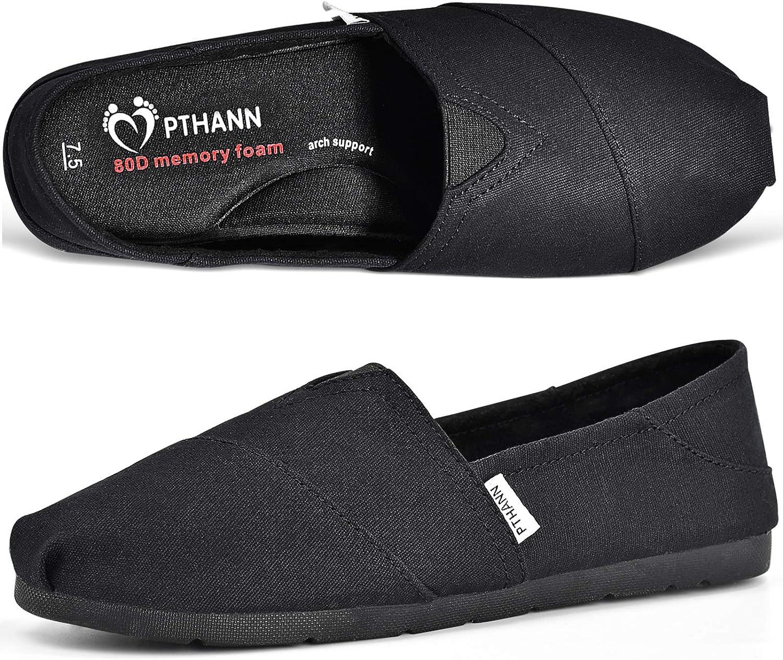 PTHANN Classic Black Flats Shoes Women