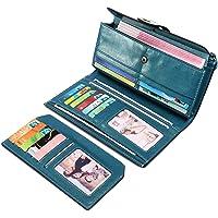 Portafoglio Donna, BAGTECH Portafogli Donna Grande Pelle Portamonete RFID con Portatessere, Porta Carte di Credito Tasche
