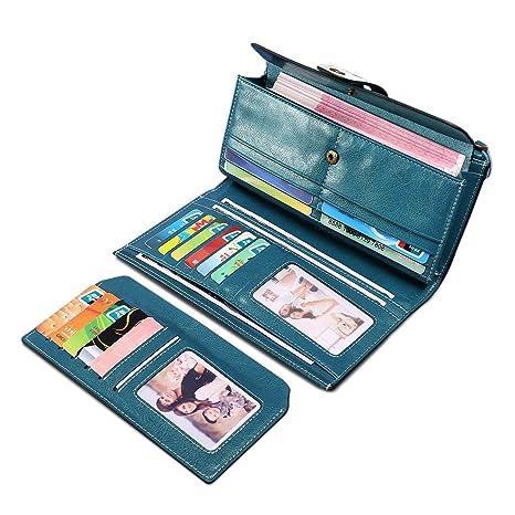 super popolare 375d9 eba6a Portafoglio Donna, BAGTECH Portafogli Donna Grande Pelle Portamonete RFID  con Portatessere, Porta Carte di Credito Tasche (blu)