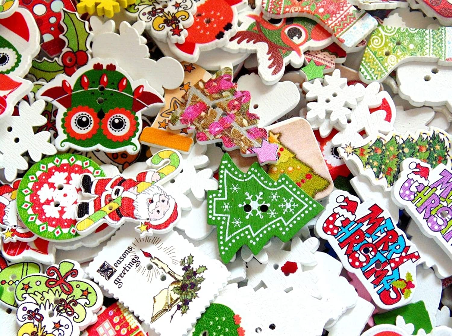 25g Mixed Wooden Christmas Buttons - Stockings Trees Stamps Snowflakes Santa Button Craft UK