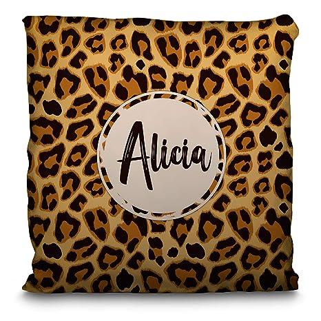 Lolapix Cojín Personalizado con Nombre. Animal Print. Varios diseños y tamaños. Leopardo