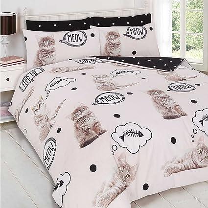 Dreamscene Walkies Kitten Kittens 2 Piece UK Single/US Twin Sheet Set – 1 x double sided sheet & 1 x pillowcase