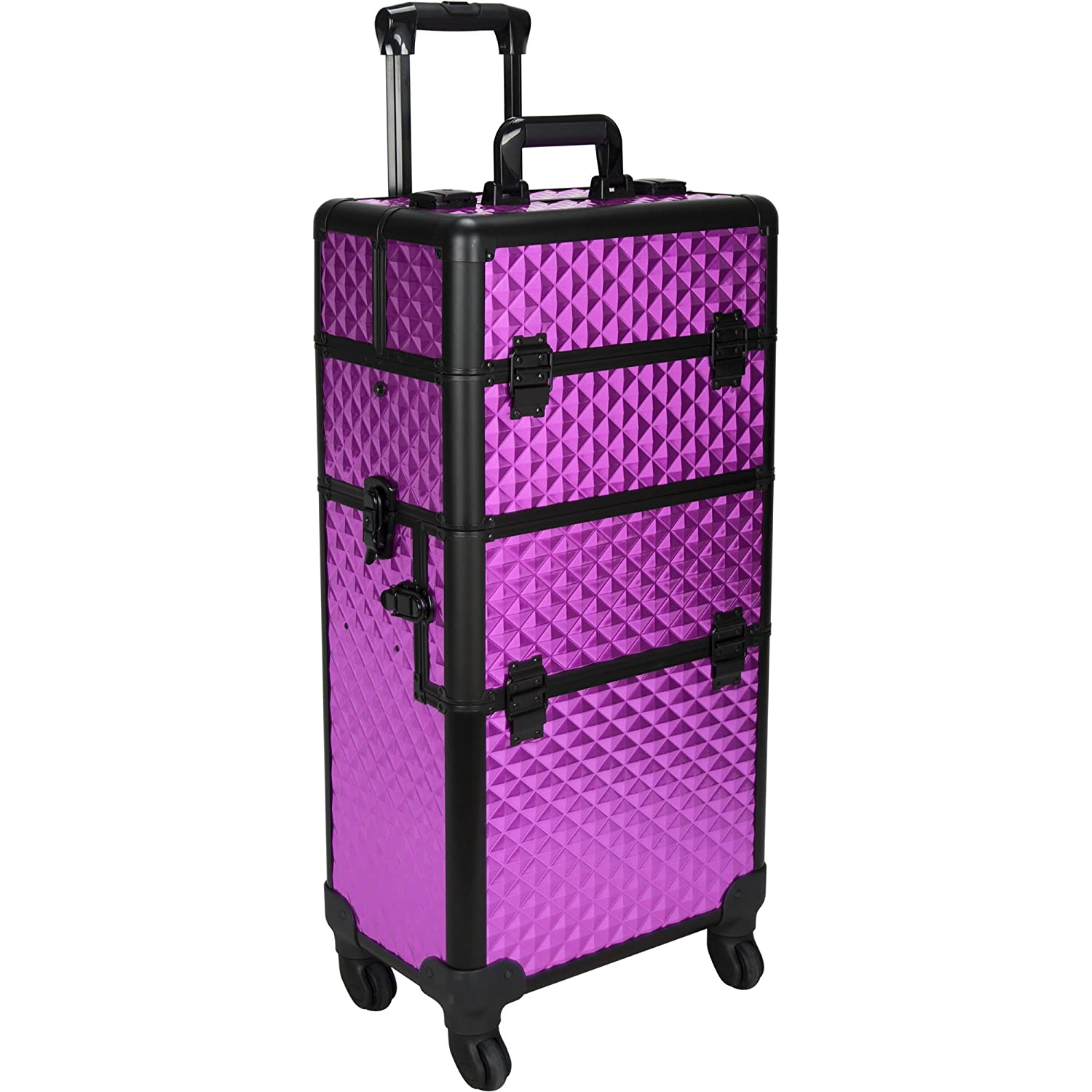 SUNRISE Makeup Case on Wheels 2 in 1 Professional Artist Organizer I3161, 4 Slide and 1 Removable Tray, 4 Wheel Spinner, Purple Diamond