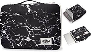 Kinmac 360° Protective Waterproof Laptop Case Bag Sleeve with Handle (15.6 inch, Black Marble)