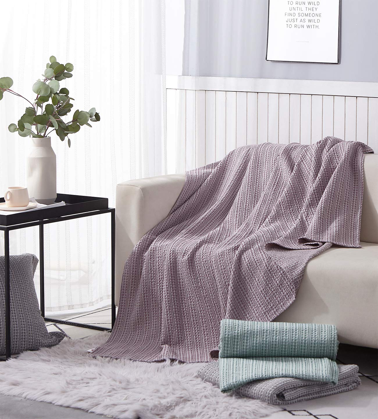 PHF 100% Cotton Bed Blanket Yarn Dyed Waffle Weave Bed Home Decor for Winter Queen Size Pale Purple