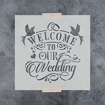 Amazon.com: Welcome to Our Wedding Stencil Template for Walls and ...