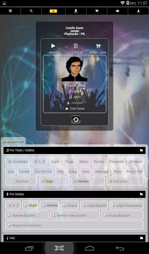 Amazon.com: Playbacks Club - IM Digital - La Web De Los Cantantes: Appstore for Android