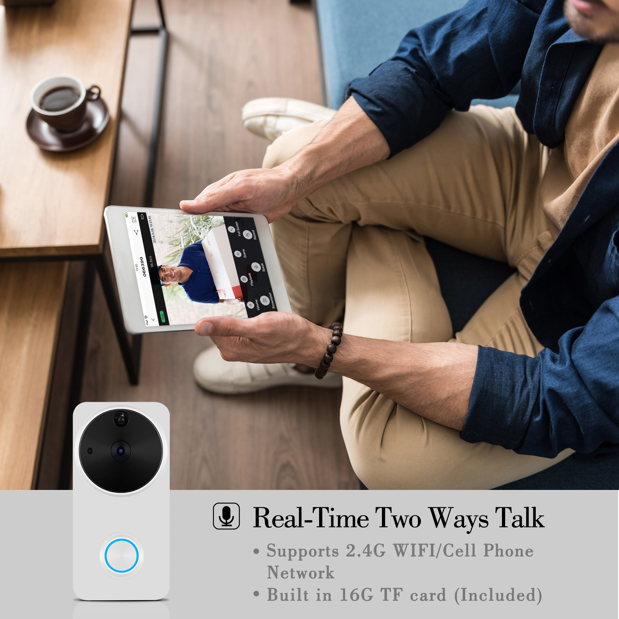 Video Doorbell Wireless - HEIHEI WiFi Smart Door Bell Kit, 720P HD Video, 2-Way Audio, Motion Detection, IR Night Version, Waterproof Home Camera W/2-Battery Built in 16G Card for IOS/Android - White by HEIHEI (Image #2)