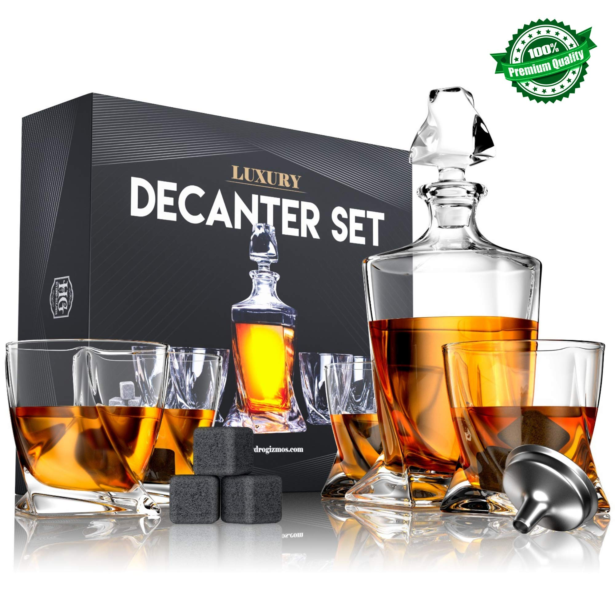 Premium Twist Glass Decanter Set with 4 Liquor Glasses, Rum, Scotch, Bourbon, Whiskey Decanter Set Mens Gift with 9 Cooling Whisky Stones and Funnel, Crystal Clear Liquor Decanter Drinking Set by Hydro Gizmos