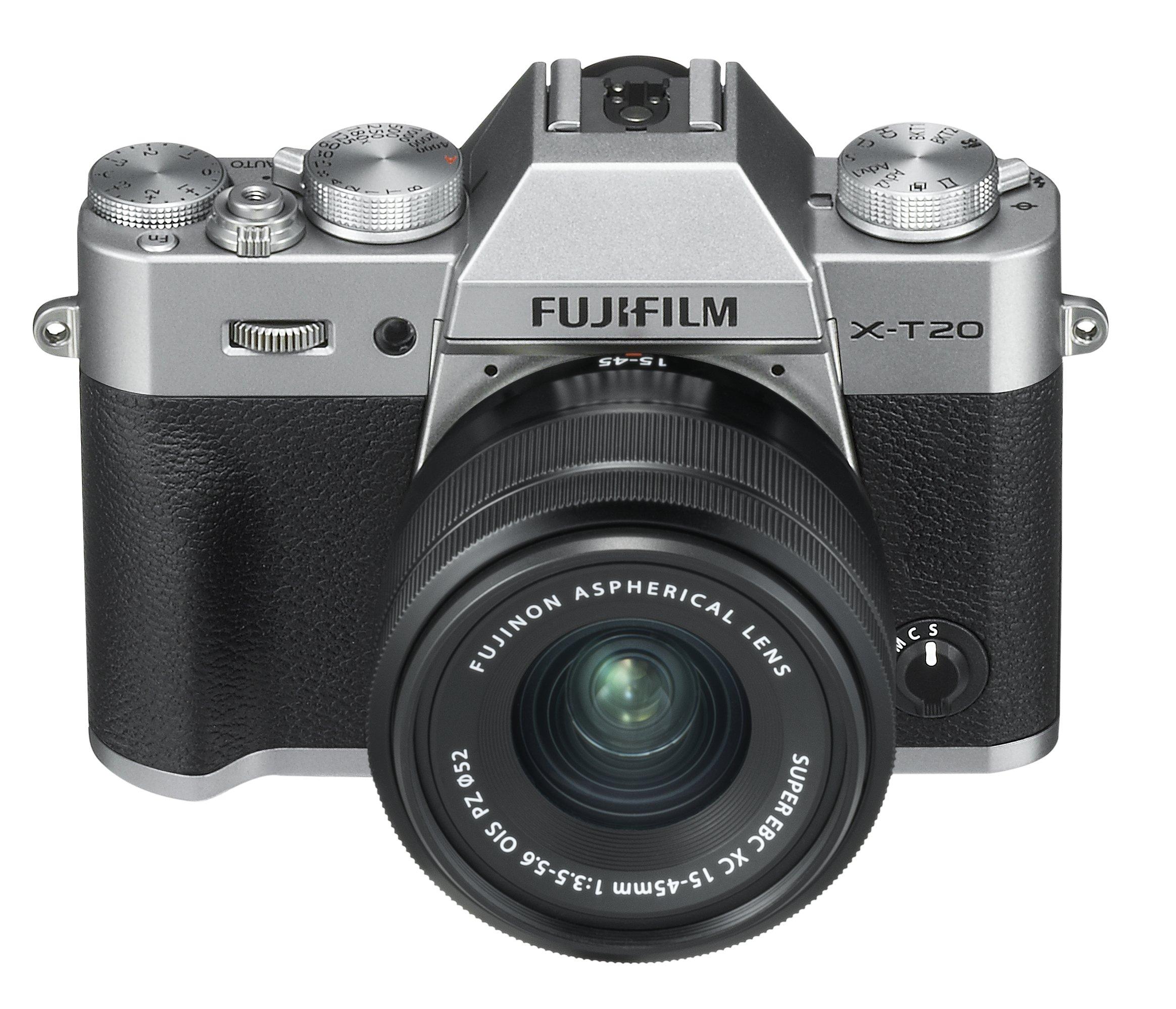 """Fujifilm X-T20 Silver Fotocamera Digitale 24MP con Obiettivo XC15-45mm F3.5-5.6 OIS PZ, Sensore CMOS X-Trans III APS-C, Mirino EVF, Schermo LCD Touchscreen 3\"""" Orientabile, Filmati 4K, Argento product image"""