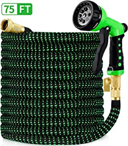 "HBlife 75ft Garden Hose, All New 2020 Expandable Water Hose with 3/4"" Solid Brass Fittings, Extra Strength Fabric - Flexible Expanding Hose with Free Water Spray Nozzle"