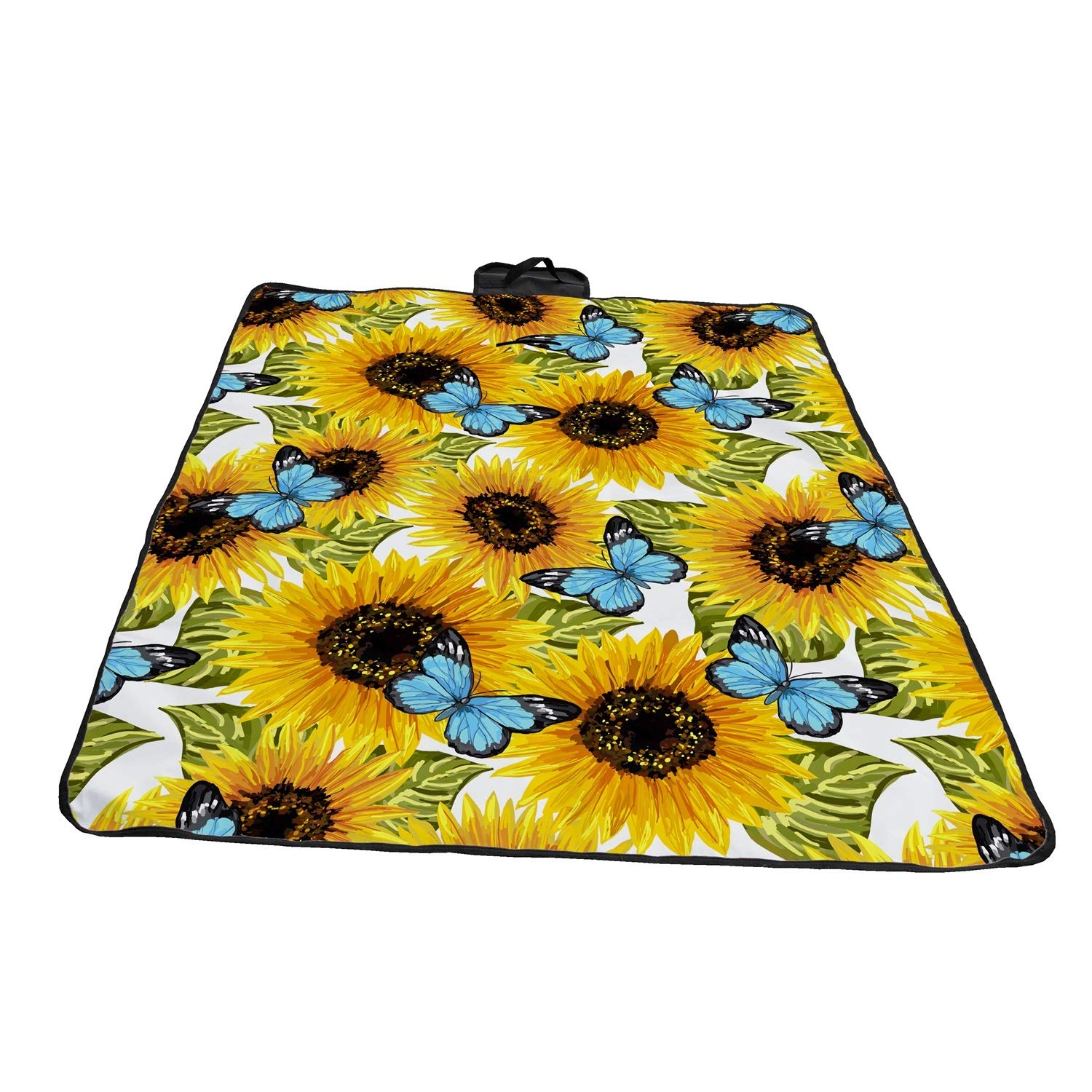 A&S Creavention Waterproof Outdoor Picnic Beach Blanket Mat Lightweight Portable Handcarry Tote Easy to fold 72'' x 58'' (Sun Flower) by A&S Creavention