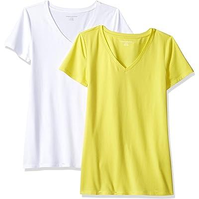 Amazon Essentials – Camiseta de manga corta de corte clásico con cuello en V para mujer (2 unidades)