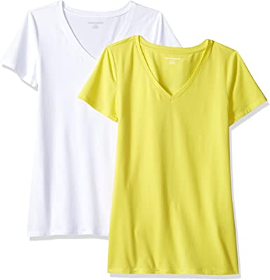 Amazon Essentials 2-Pack Short-Sleeve V-Neck Solid T-Shirt - Camiseta de Manga Corta clásico con Cuello en V Mujer: Amazon.es: Ropa y accesorios
