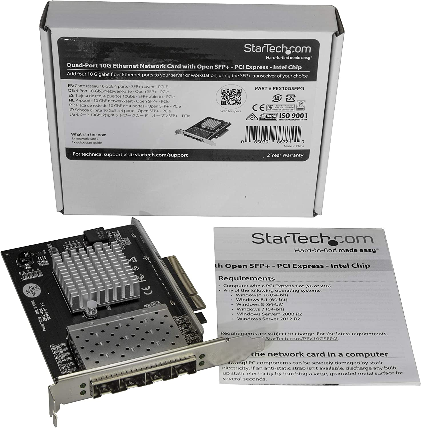 StarTech.com SFP+ Server Network Card - 4 Port Nic Card - Intel XL710 Chip - PCIe Netword Card - 10 Gigabit Ethernet Card (PEX10GSFP4I)