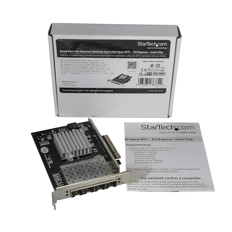 StarTech.com SFP+ Server Network Card - 4 Port Nic Card - Intel XL710 Chip - PCIe Netword Card - 10 Gigabit Ethernet Card (PEX10GSFP4I)