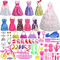 SOTOGO 85 Pcs Doll Clothes Set for Barbie Dolls Include 10 Pack Clothes Party Grown Outfits and 75 Pcs Different Doll Accessories for Little Girl
