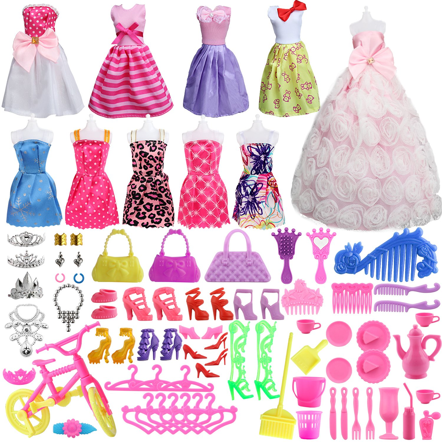SOTOGO 85 Pcs Barbie Doll Clothes Set Include 10 Pack Barbie Clothes Party Grown Outfits(Color Random) And 75 Pcs Different Barbie Doll Accessories For Little Girl