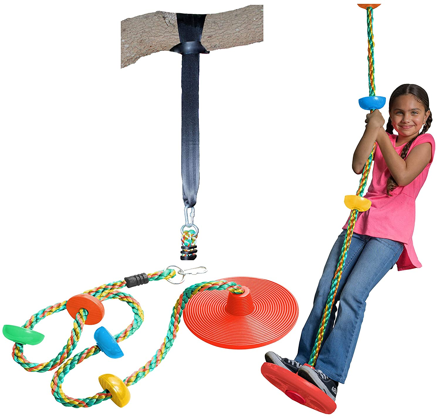 Jungle Gym Kingdom Tree Swing Climbing Rope with Platforms Disc Swings Seat - Outdoor Playground Set Accessories Tree House Flying Saucer Swing Outside Kids Toys - Snap Hook and 4 Feet Strap
