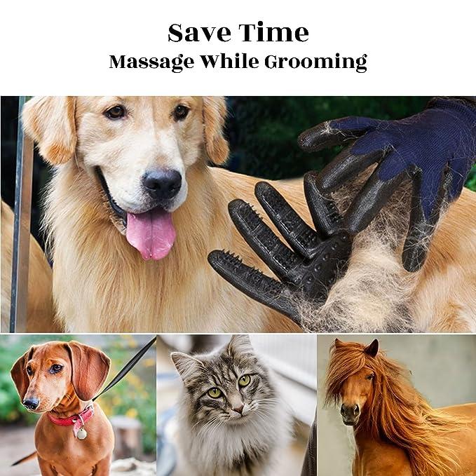 Guante Pelo Gato Perro Caballo Mascota Grande - Largo Corto Quita Pelos Cepillo Pelo Manopla (Azul)