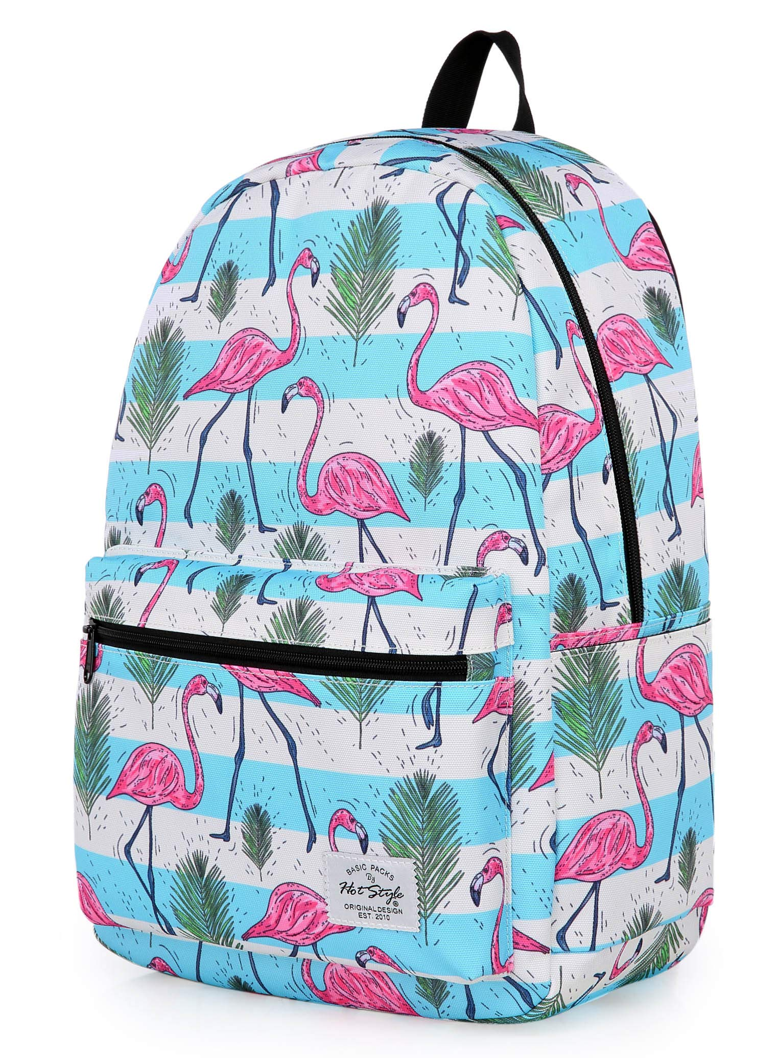 TRENDYMAX Backpack Cute for School | 16''x12''x6'' | Holds 15.4-inch Laptop | Flamingos, Stripes