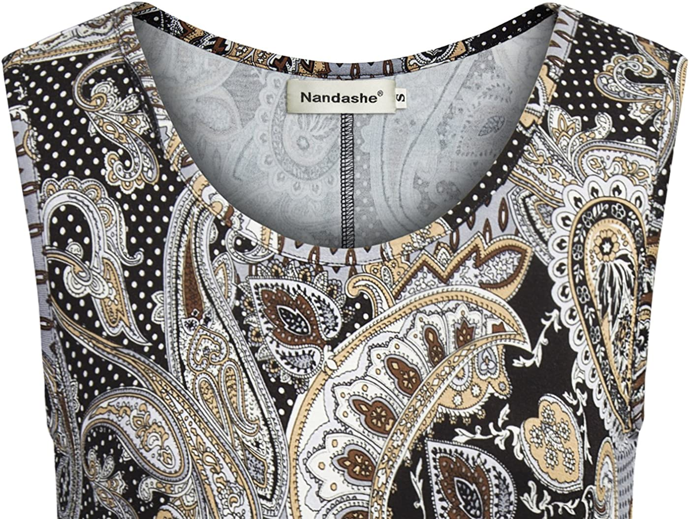 Nandashe Womens Summer Floral Tunic Tank Tops Casual Loose Sleeveless Dressy Blouses