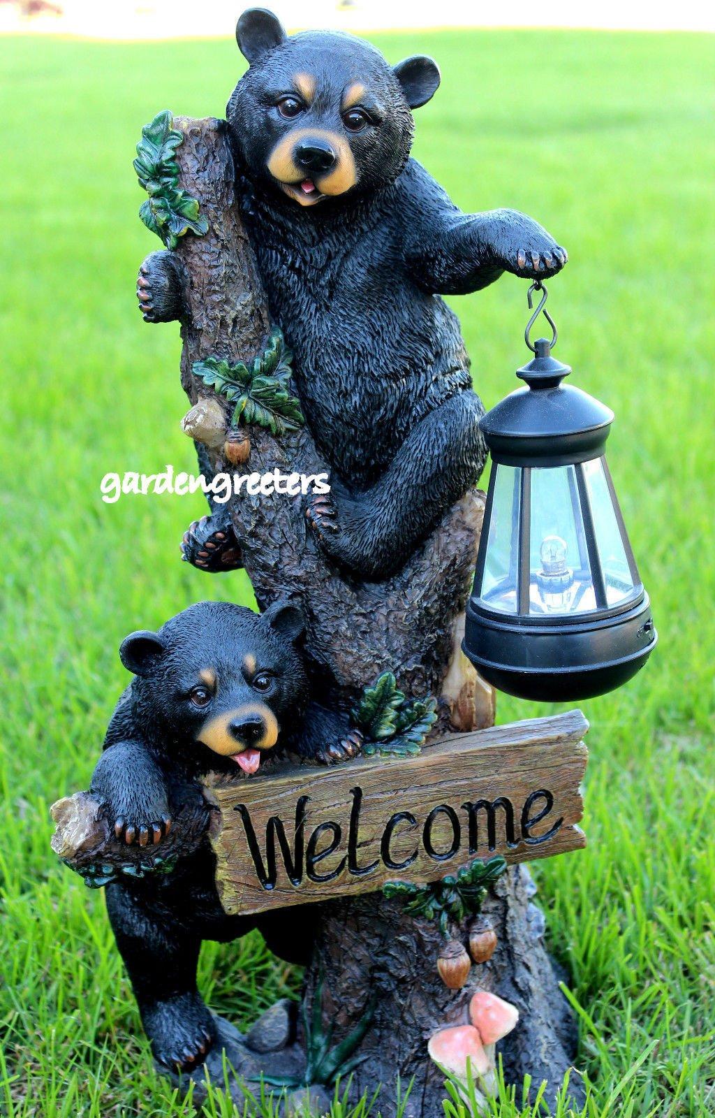 BEAR CUBS WITH SOLAR LIGHT STATUE SOLAR BEAR LANTERN FIGURINE
